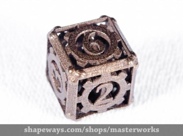 Steampunk d6 3d printed Antique Bronze Gloss