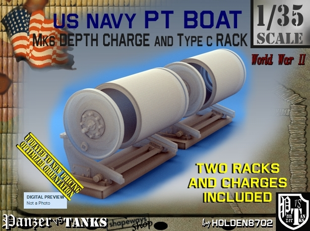 1/35 PT Boat Depth Charge w/ Rack Set001 in Frosted Ultra Detail
