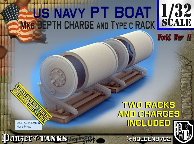 1/32 PT Boat Depth Charge w/ Rack Set001 in Frosted Ultra Detail