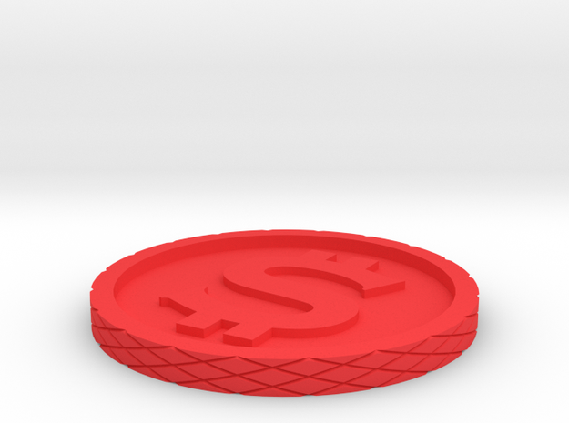 Dollar Coin - Single Material in Red Strong & Flexible Polished