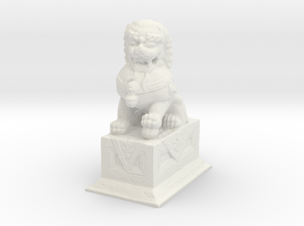 1/24 Chinese Stone Lion Gate Keeper (R) in White Strong & Flexible
