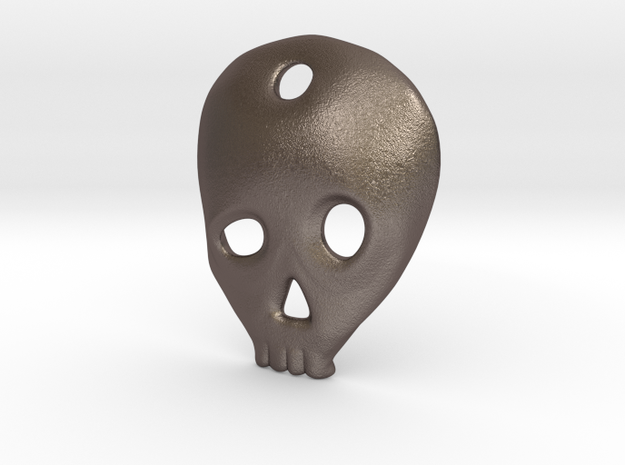 SKULL charm or pendant in Polished Bronzed Silver Steel