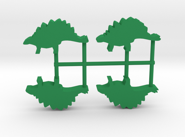 Dino Meeple, Stegosaurus 4-set in Green Processed Versatile Plastic