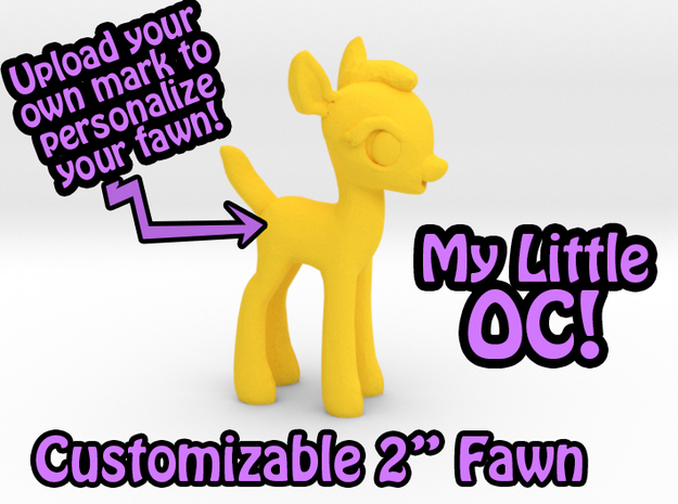 """My Little OC: Faun 2"""" in Yellow Strong & Flexible Polished"""
