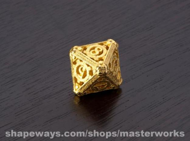 Steampunk d8 in Matte Gold Steel