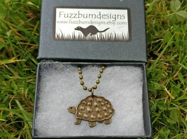 Tortoise pendant in Polished Bronze Steel