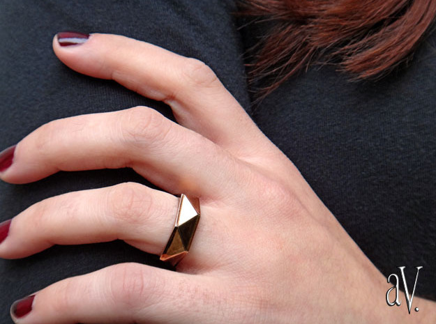 Faceted6 Sided Ring in 14k Gold Plated Brass: 7 / 54