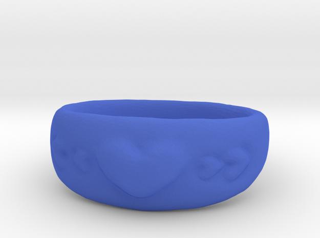 Heart Ring sz8 in Blue Processed Versatile Plastic