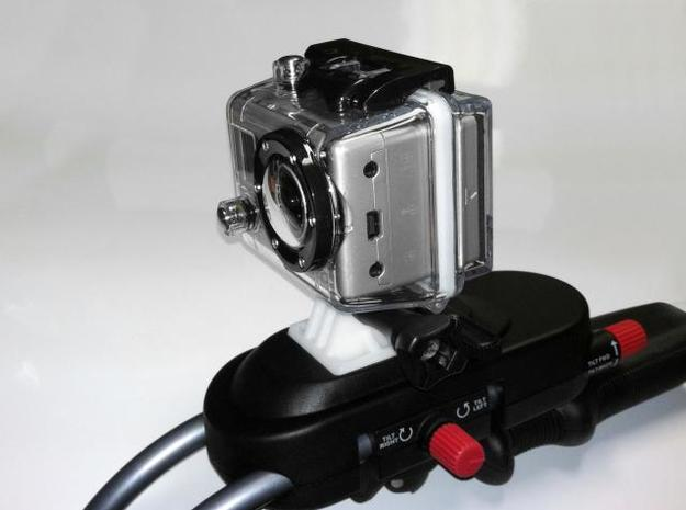 GoPro bracket for SteadiCam Smoothee 3d printed Final version mounted on the Smoothee
