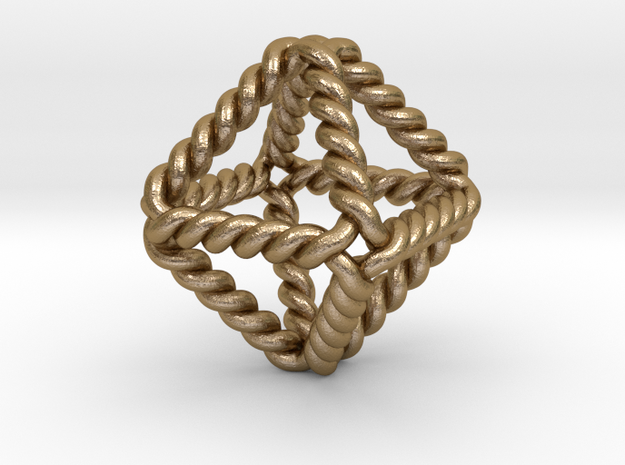 "Twisted Octahedron LH 1""  in Polished Gold Steel"