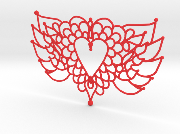 Flying Valentine Doily  in Red Processed Versatile Plastic
