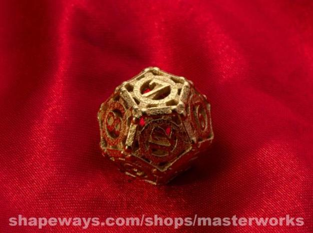 Steampunk d12 3d printed Gold Plated Glossy