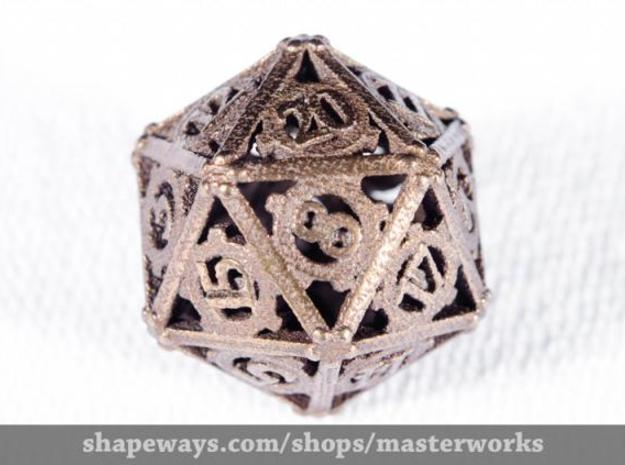 Steampunk d20 3d printed Antique Bronze Gloss