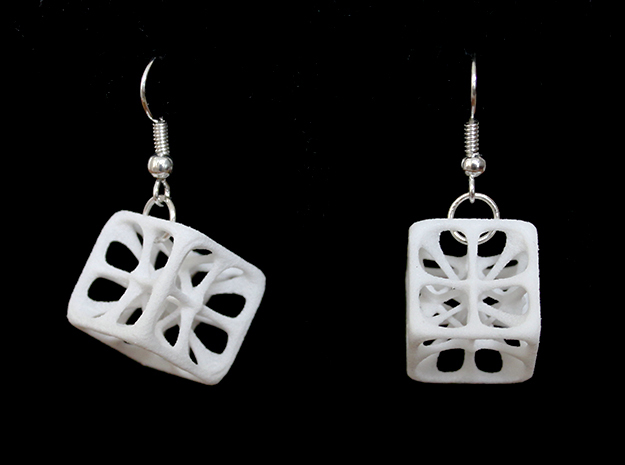 Hexahedron Earrings in White Strong & Flexible Polished