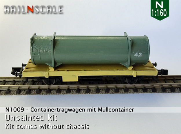 Containertragwagen mit Müllcontainer (N 1:160) in Frosted Ultra Detail