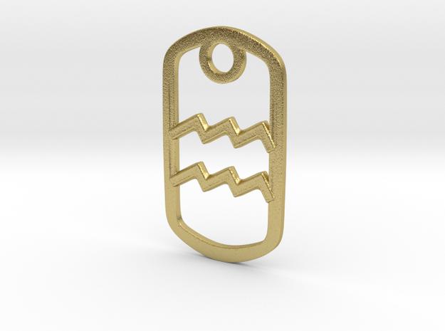 Aquarius Pendant  in Natural Brass