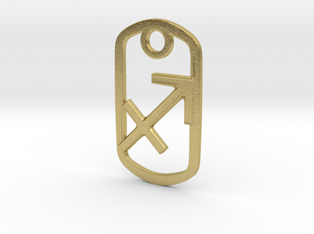 Sagittarius Pendant in Natural Brass