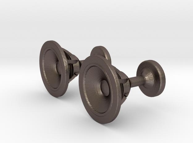 Speaker cufflinks in Polished Bronzed Silver Steel