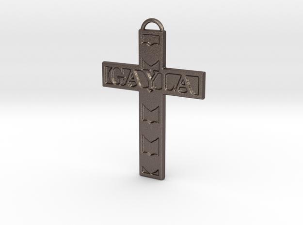 Gayla Cross Pendant in Polished Bronzed Silver Steel