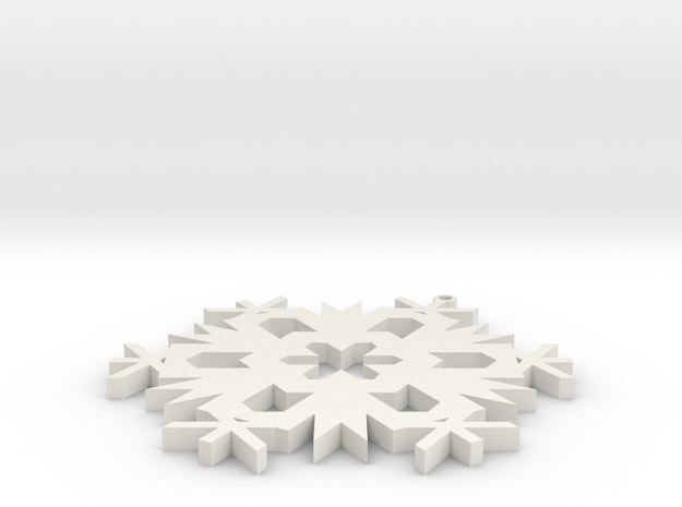 Christmas Snowflake Ornament in White Natural Versatile Plastic