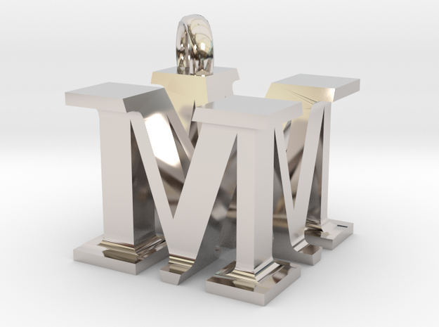 MM Monogram serifs  [pendant] in Rhodium Plated