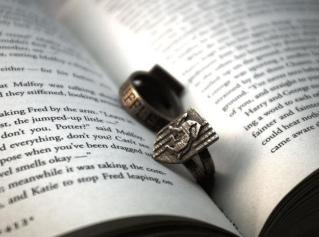 Hufflepuff Ring Size 6 in Polished Bronzed Silver Steel