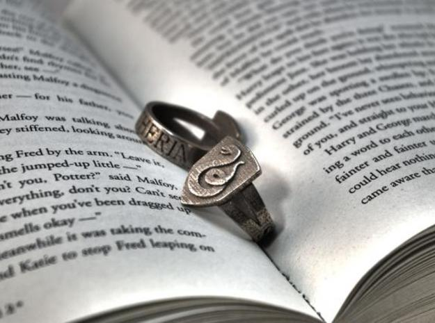 Slytherin Ring Size 8 in Polished Bronzed Silver Steel