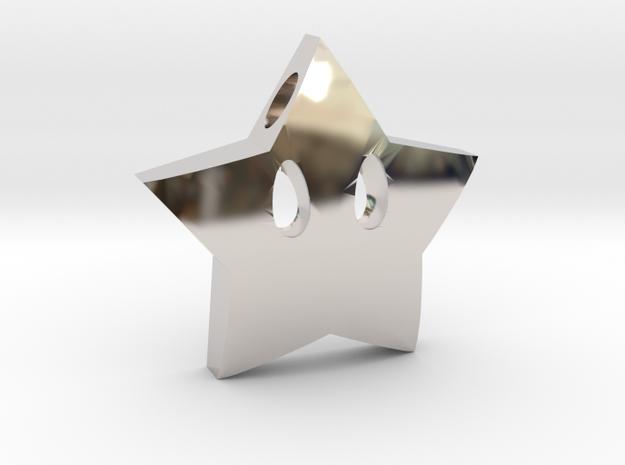 Mario's star  [pendant] in Rhodium Plated