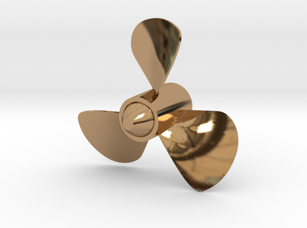 40mm Dia. 3 Bladed ship Propeller (CCW Rotation) in Polished Brass