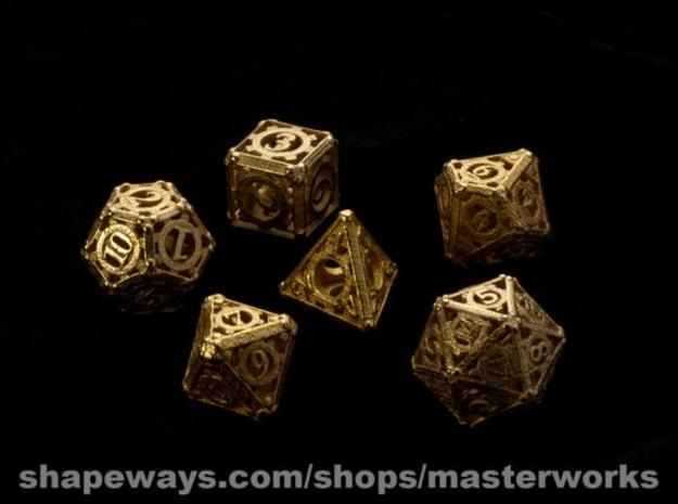 Steampunk Dice Set noD00 3d printed Gold Plated Glossy