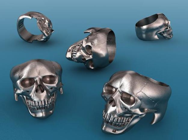 Skull Ring 3d printed Stainless Steel render