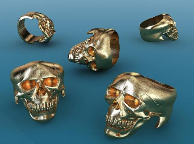 Skull Ring 3d printed Gold Plated matte render