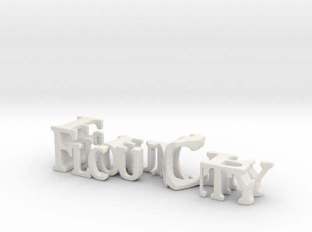 3dWordFlip: Flour City/Fear in White Natural Versatile Plastic