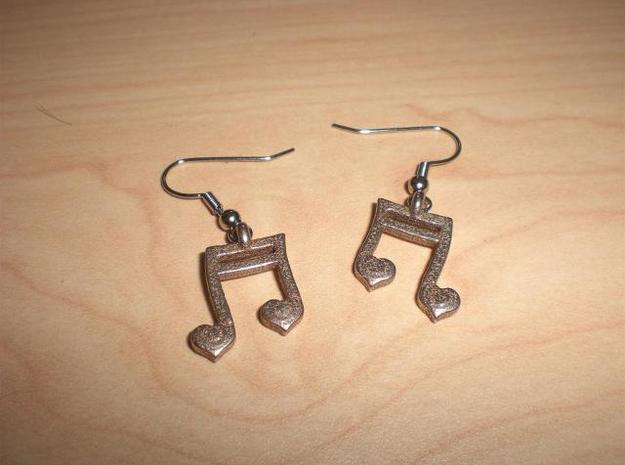 Musical Heart Earrings 3d printed