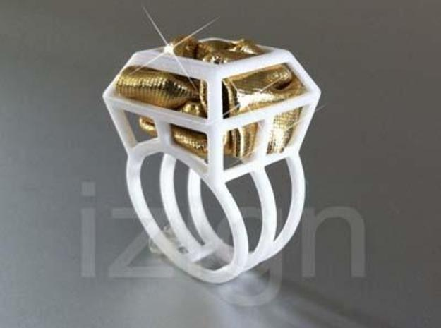 ring06 20 3d printed White Strong & Flexible dressed up with a piece of gold fabric