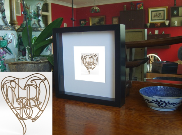 Albert - Personalised 2D Heart in Natural Brass