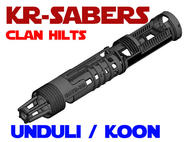KR-S Clan Hilts - Koon / Unduli Chassis in White Natural Versatile Plastic