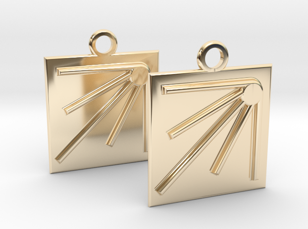 square sun earrings in 14k Gold Plated Brass