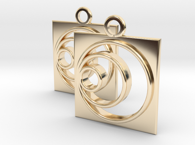 square circle spiral earrings in 14k Gold Plated Brass