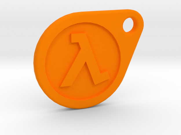 Half-Life Lambda Keychain 2.0 in Orange Strong & Flexible Polished
