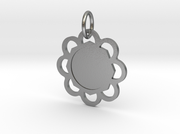 Custom Flower hexagon Pendant in Natural Silver (Interlocking Parts)