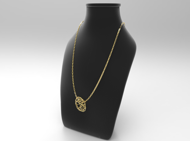 Diamond pendant in Polished Brass