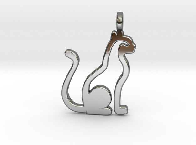 Cat pendant in Fine Detail Polished Silver: Small