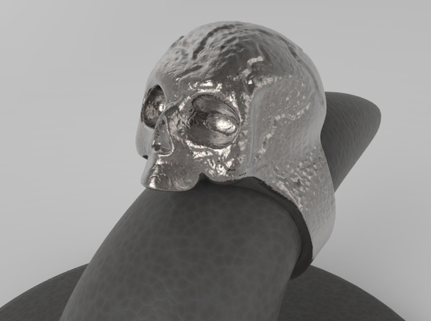 Skull Ring in Polished Bronzed Silver Steel: 10 / 61.5