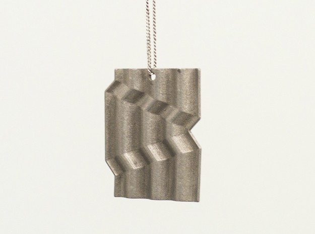 Corrugated_Pendant in Polished Nickel Steel