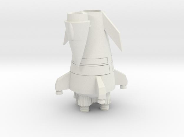 Flying Rocket Ship (Smallest Version) in White Natural Versatile Plastic