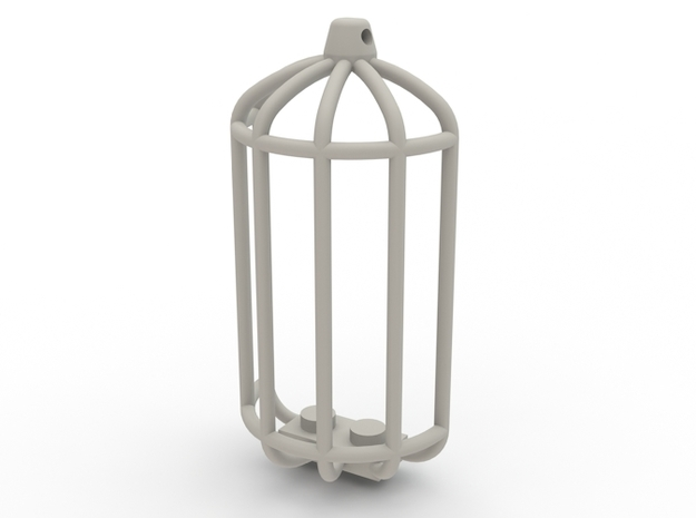 Brick Birdcage Pendant in White Strong & Flexible Polished
