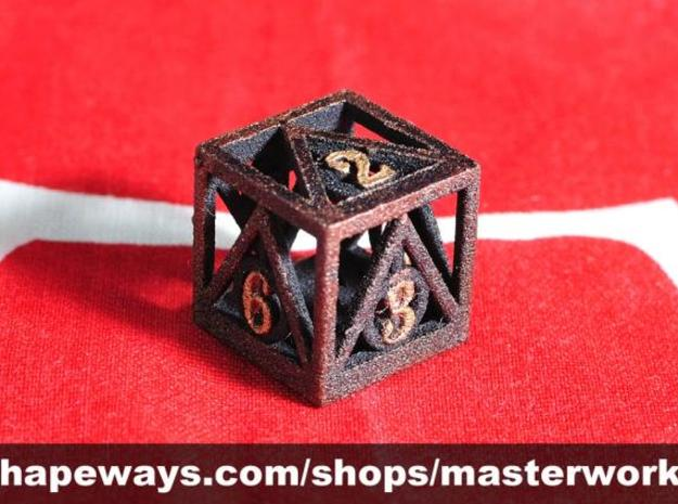Deathly Hallows d6 3d printed Plastic with Copper & Gold Rub'n'Buff