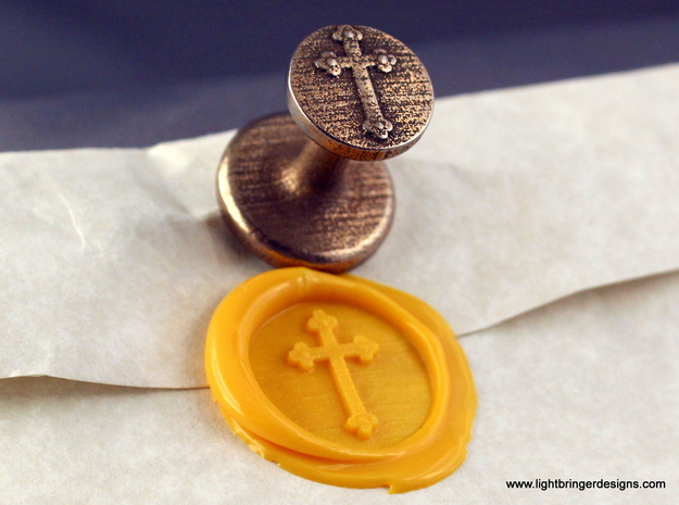 Cross Wax Seal in Polished Bronzed Silver Steel