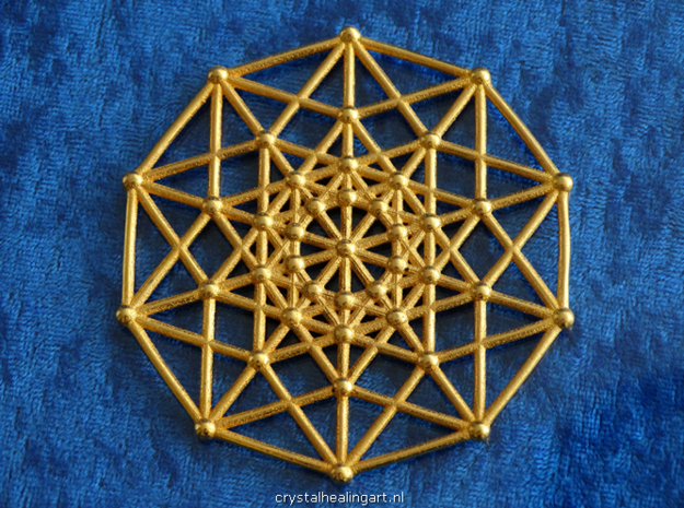 Penteract - 5d Hypercube - E5 in Polished Gold Steel